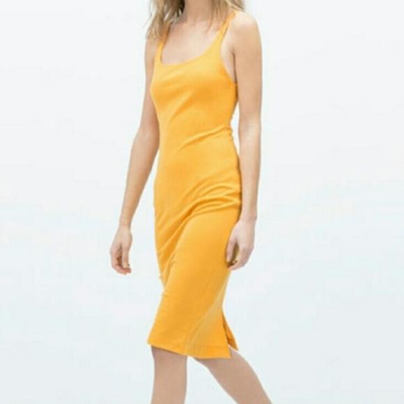 d9f25555348be4 NWT Zara Dress Basic Tank Sleeveless Mustard M